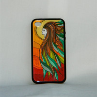 Lady of the Forest, iPhone case, iPhone cover, iPhone 4/4s, one of a kind, hand drawn, nature, hippie, leaves, sunset, boho, goddess, folk