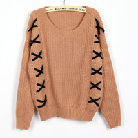 Pink Ladies Knitting Loose Sweater One Size YS1010p from efoxcity