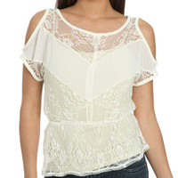 Lace Cutout Peplum Top | Shop Sale at Wet Seal