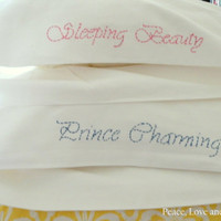Embroidered PillowCases Sleeping Beauty and by PeaceLoveAndRoses