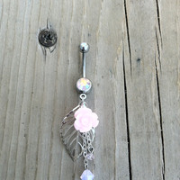 Light Pink Flower and Leaf Belly Button Ring AB Finish