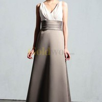 [US$180.99] A-line V-neck Ruffle Embellishment Matte Satin Bridesmaid Dress