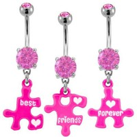 Pink Puzzle piece Best Friends Forever Best Friend dangle set Belly Ring - 316L Implant Grade Surgi