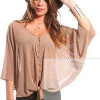 GYPSY WARRIOR - Batwing Front Tie Top