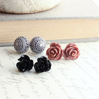 Black Rose Earrings, Dusty Rose Pink, Post Earrings, Flower Studs, Resin Jewelry, Black, White, Mosaic Earrings, Jewellery Three Pairs