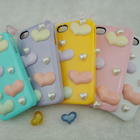 Iphone 4 Case Cover - New Handmade Luxury Lovely Heart White Sweet Ice Cream Hard Case Cover For iPhone 4 4G 4S