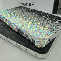 Iphone Crystal Cover - Iphone 4 Case - New Lovely Fashion Bling Luxury Crystal Black &amp; Silver Sweet Hard Case Cover For iPhone 4 4G 4S