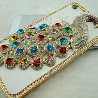 Iphone 5 Case - Handmade Bling Crystal Colorful Rhinestones 3D Peacock With Leather Skin Hard Cover Cover For iphone 5 5G