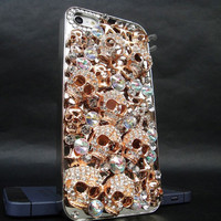 Iphone 5 Case - Luxury Handmade Gold 3D Crystal Rhinestones Skull Chrome Hard Case Cover For iphone 5 5G