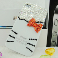 Iphone 4 Case - Luxury Handmade Red Bow Lovely Kitty Bling Rhinestones Crystal Pearl Hard Back Case Cover For Apple iPhone 4 4S 4G Case