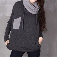 Turtleneck Hooded Pullover in Gray