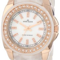 Anne Klein Women's 10/9668RGIV Ivory Marbleized Resin Bracelet Rosegold-Tone Case and Swarovski Cry
