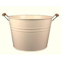 Cream Enamel Wooden Handled Tub - Bucket from the gifted penguin UK