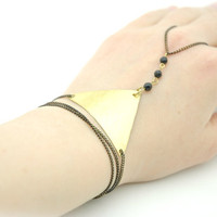 Geometric Hammered Triangle Hand Chain Bracelet - Black Brass Hand Chain - Hand Piece -  Modern Yellow  Brass Jewelry