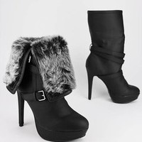 fur cuff leatherette boot $39.60 in BLACK