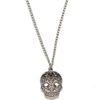 Silver tone filigree skull pendant necklace