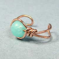 Copper Ear Cuff  Amazonite or Choice of 56 beads by WireYourWorld