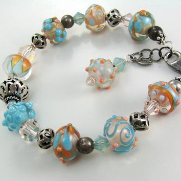 Peach and Aqua artisan lampwork bracelet - Handmade Crafts by LibertyOriginals
