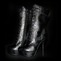 Ladies Lacey days Mid Calf Lace Up Boot at Iron Fist International INC. in BLACK