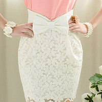 B45 office lady hollow white lace fitted elegant bowknot high waist skirt SZ M