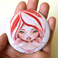 Pocket Mirror Peppermint 2 1/4 Round Compact Mirror by solocosmo