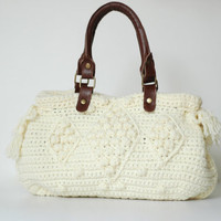 Cream Handbag Celebrity Style With Genuine Leather by Sudrishta