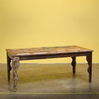Reclaimed wood Reclaimed Wood Stripped 6-person Dining Table (India)