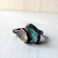 Topaz Labradorite Copper Ring   Gem Stone by MidwestAlchemy