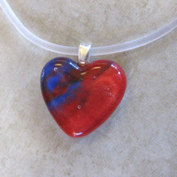 Glass Heart Necklace, Red Heart Jewelry, Valentines Day, Red and Blue Pendant Necklace - Little Kiss - 4070 -3