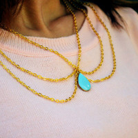 Peter Pan Collar Necklace Chain Necklace Bohemian Hipster Boho Gold Chain Light Blue Drop Bead