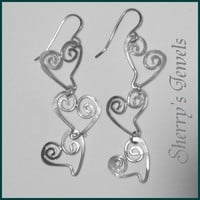 Spiral Heart Trio Cascade Sterling Silver Earrings