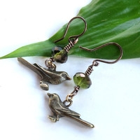 Bird earrings - wire dangles with moss green faceted Czech glass bead