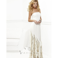 Faviana 2013 Prom - Ivory Strapless Crepe Satin - Unique Vintage - Cocktail, Pinup, Holiday & Prom Dresses.