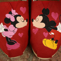 Mickey and Minnie Mouse Kiss Original Custom Acrylic Painting for Toms/Canvas Shoes