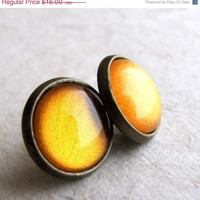 Harvest Moon 12mm Post Earrings Antiqued Brass