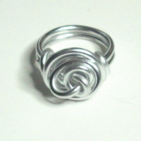 Silver Rose Love Knot Aluminum Wire Wrapped Ring