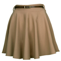 Beige Belted Skater Skirt - Clothing - desireclothing.co.uk