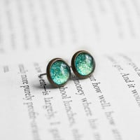 Sunken Treasure - Small Antiqued Brass Post Earrings
