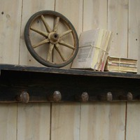 Rustic Shelf with Seven Railroad Spike Hooks by honeystreasures