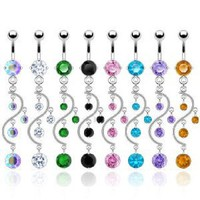 SBJ-0002 Stainless Steel Navel Ring Vine Dangle With CZ; Comes With Free Gift Box (Aurora Borealis): Jewelry: Amazon.com