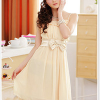 Fashionable Ladies Summer Apricot Chiffon Dress