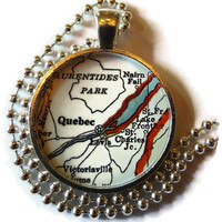 Quebec Canada necklace pendant charm, Canada map charms, Quebec map necklace