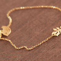 Valentine Gold Bracelet Tiny Gold Leaf Little by lilabelledesign