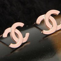 New rose gold filled double C earrings