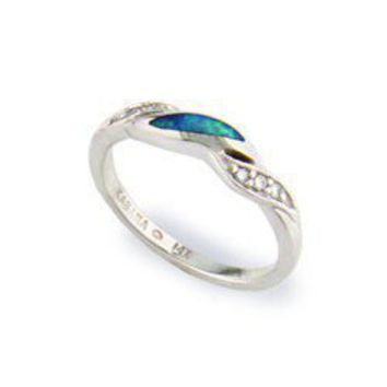 White Gold Ring with Opal Inlay and Diamonds - Rings - Jewelry Type