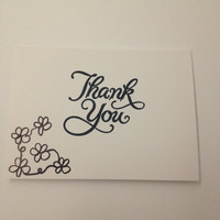 Handstamped and drawn Thank You cards by kimgraydiaz on Etsy