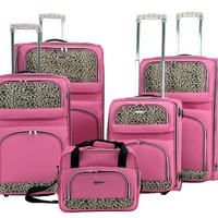 Rockland Luggage 5 Piece Leopard Set