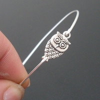 Little Owl Bangle Bracelet Silver by FrostedWillow on Etsy