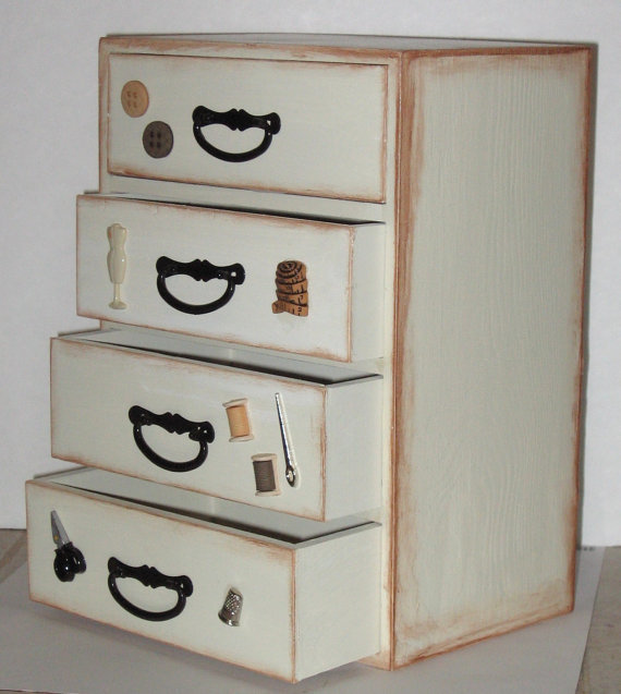Wooden Sewing Treasure Box by StrictlyCute on Etsy