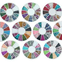 Bundle Monster 10 Nail Art Nailart Manicure Wheels w/ 3D Designs Glitters Rhinestones Beads - total